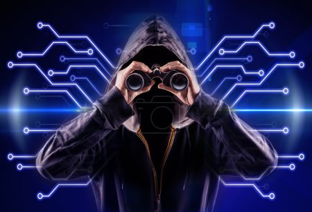 Photo for Picture of a hacker with a spyglass - Royalty Free Image