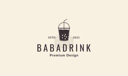 Illustration pour Boisson en plastique boba vintage logo vecteur icône illustration design - image libre de droit