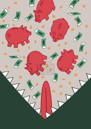 Illustration pour L'inflation est un monstre détruit tout l'argent et les économies . - image libre de droit
