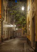 Old Town of Stockholm, Sweden at night.