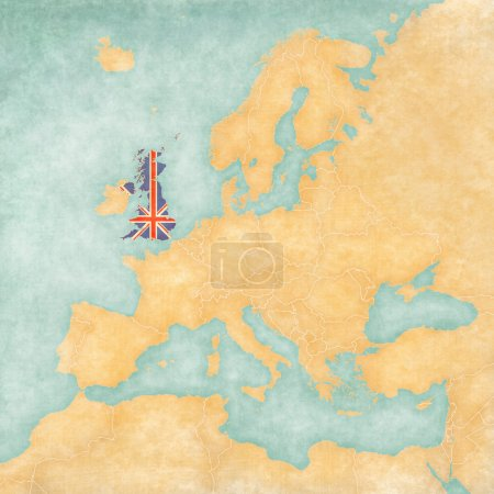 Photo pour United Kingdom (British flag) on the map of Europe. The Map is in vintage summer style and sunny mood. The map has a soft grunge and vintage atmosphere, which acts as watercolor painting on old paper. - image libre de droit