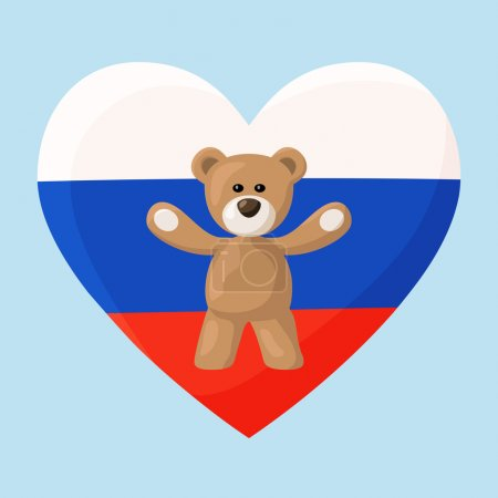 Illustration for Teddy Bears with heart with flag of Russia. Illustration of travel souvenir from visiting the country. - Royalty Free Image