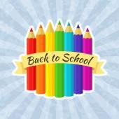 Zpátky do školy Label s pastelkami