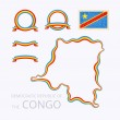 Outline map of Democratic Republic of the Congo. B...