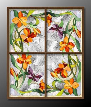 Foto de Patrón de vidrieras con flores rojas y mariposas - Imagen libre de derechos
