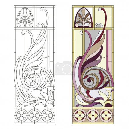 Illustration for Stained glass window in the style of historicism - Royalty Free Image