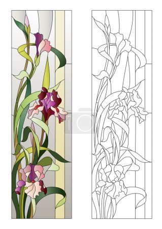 Illustration for Floral pattern for stained-glass window with blooming irises - Royalty Free Image