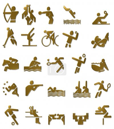 Summer Olympics Icons Set (Gold)