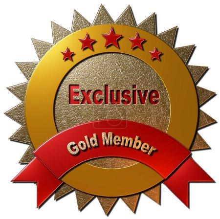 """Photo pour Ce sceau d'or déclarant """"Membre d'or exclusif"""" avec cinq étoiles peut être utilisé sur n'importe quelle page Web ou tout autre matériel promotionnel pour l'adhésion d'or à n'importe quel programme. - image libre de droit"""