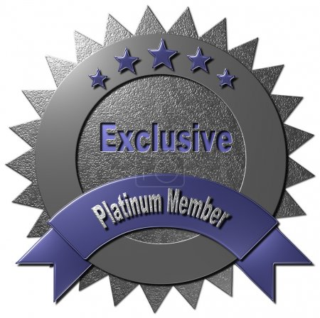 """Photo pour This platinum seal with five stars declaring """"Exclusive Platinum Member"""" can be used on the www or any promotional material for Platinum Membership. - image libre de droit"""