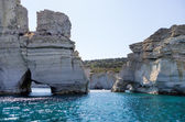 Rocky coastline in Milos island, Cyclades, Greece
