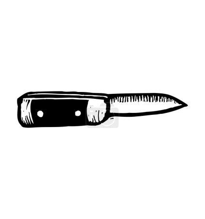 Illustration pour Illustration vectorielle noir et blanc d'un couteau - image libre de droit