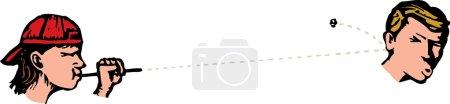 Illustration pour Illustration vectorielle de vilain adolescent garçon tir crachat wad - image libre de droit