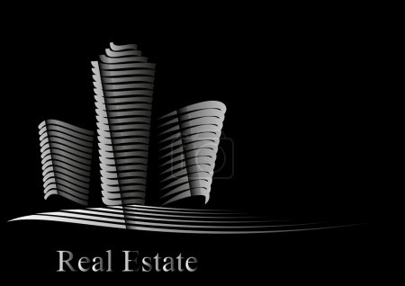 Illustration for Vector illustration with Real Estate company motif created by line on white black background represents office skyscraper and buildings - Royalty Free Image