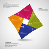 Illustration infographic with square origami motif