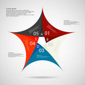 Illustration infographic of pentagon star motif consists of five separate colored parts with individual number and space for own text placed on light background