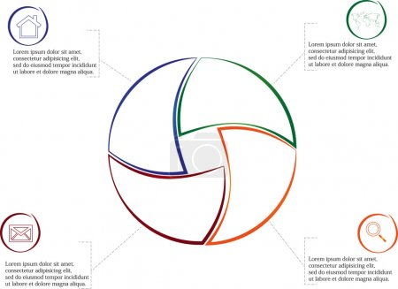 Illustration for Illustration infographic consists of four separate parts from outlines together with shape of circle. Each part has own simple sign and different color. There is a space for own text. - Royalty Free Image