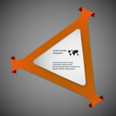 Orange Illustration infographic with shape of triangle with rounded corners and with four folded overlapped parts which ends in pockets in background In front is next white paper triangle