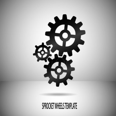 Illustration for Illustration with grey background divided to two parts to create motif in space. Three solid black sprocket wheels with smooth edges are placed there with shadow under. - Royalty Free Image