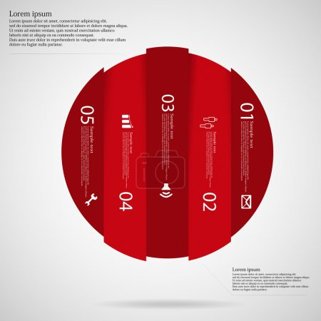 Illustration for Illustration infographic with motif of red circle vertically divided to five parts on light background. Each part contains simple symbol, unique number and sample text which should be replaced. - Royalty Free Image