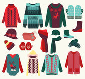 Vector woman winter clothes set cozy collection illustration