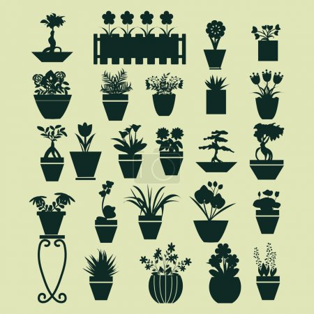 Illustration for Icons set of  pot plants  garden flowers  and  herbs in flat style - Royalty Free Image