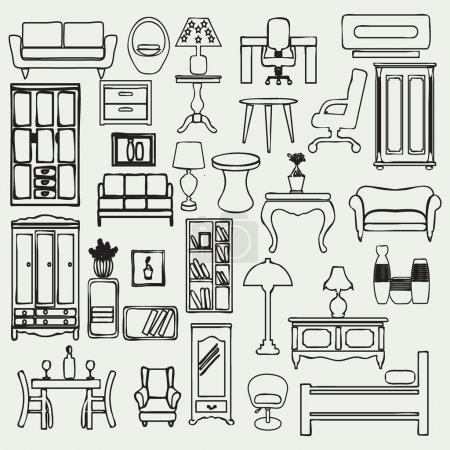 Illustration for Set of simple doodle image of hand drawn of furniture and interior subjects - Royalty Free Image