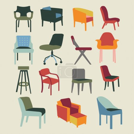 Illustration for Set icons of chairs interior furniture icon-illustration - Royalty Free Image