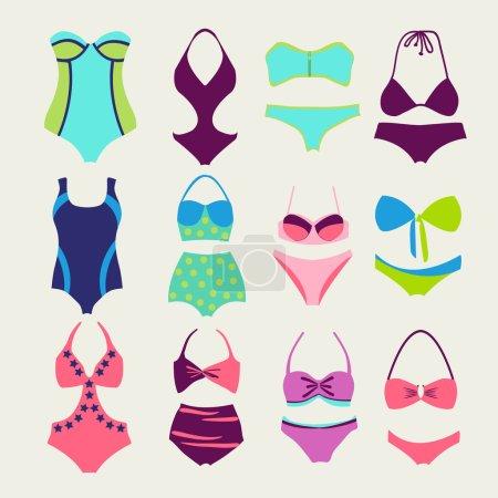 vector set of swim wears - Illustration