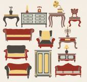 Interior Icons Set vintage style elements