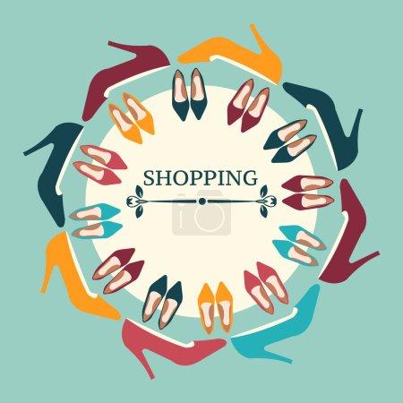 Shopping Background  of  fashion Women High Heels shoes