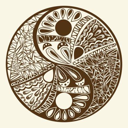 Photo pour Yin yang symbole, élément de décoration asiatique Modèle sur fond blanc. Tatouage Yin Yang pour illustration vectorielle de symbole de conception - image libre de droit