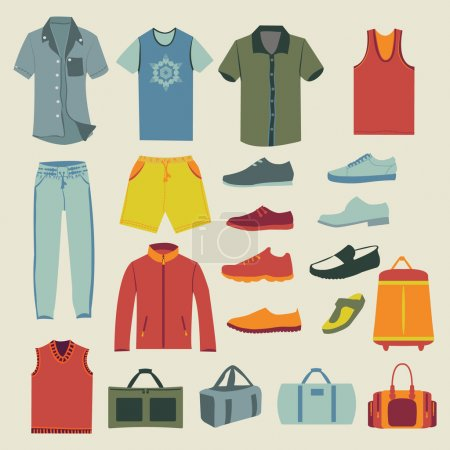 Set of Fashion men clothes and accessories icons
