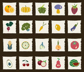 Vegetables and Fruits icon set