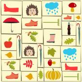 Vector pattern of autumn themed objects