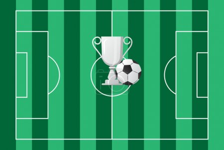 Illustration for Silver cup soccer, ball vector on green football field. Tournament, champion prize are shown. The achievement award symbol. Congratulations on winning the game. Leadership, winner celebration. - Royalty Free Image