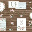 Stylish cards collection with floral bouquets and ...