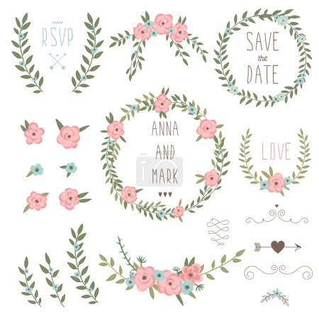 Cute retro floral bouquets and wreath. Vintage flo...