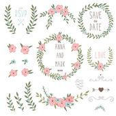 Cute retro floral bouquets and wreath Vintage floral set Save the date wedding design collection