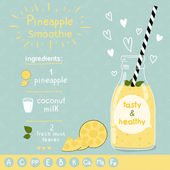 Pineapple smoothie recipe Illustration of ingredients and vitamins Doodle style