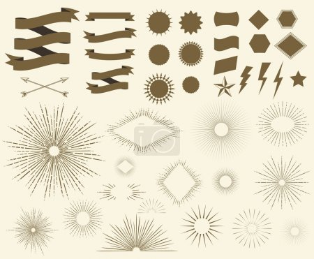 Illustration for Art Deco Vintage sun burst frames, geometric shapes and design elements collection for your design. Great for retro style projects. Vector set - Royalty Free Image