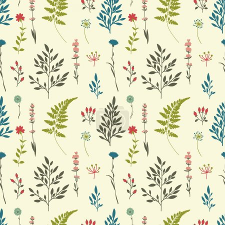 Illustration for Retro seamless pattern with flowers. Botanical vintage pattern - Royalty Free Image