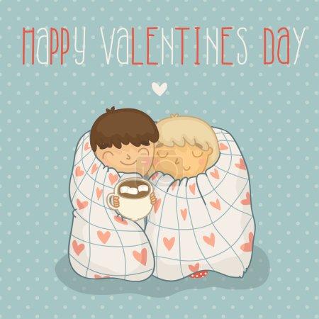 Illustration pour Carte agréable le jour de la Saint-Valentin avec un couple doux. Happy Valentines day! - image libre de droit