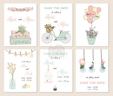 Illustration for Collection of 6 cute card templates. Wedding, marriage, save the date, baby shower, bridal, birthday, Valentine's day. Stylish simple design. Vector illustration. - Royalty Free Image