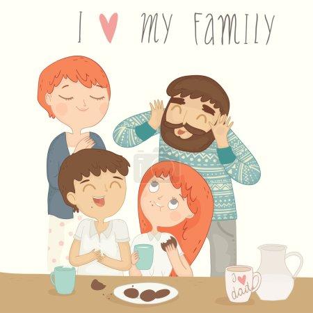 Happy family at breakfast.
