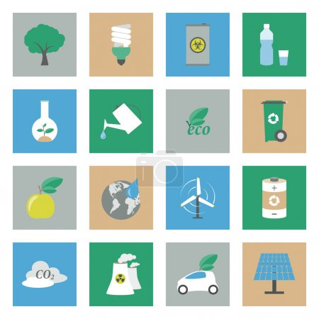 Ecology flat icons set vector graphic illustration...