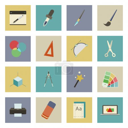 Graphic and design flat icons set