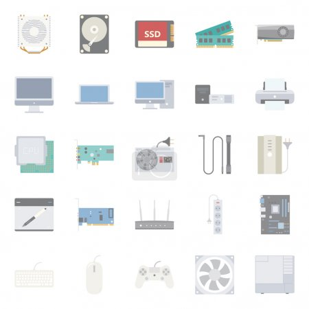 Illustration for Computer components and peripherals flat icons set graphic illustration design - Royalty Free Image