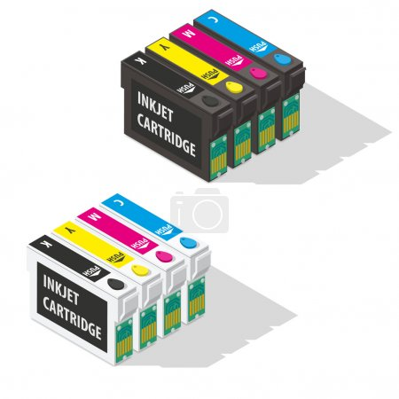 Illustration for Ink jet cartridges isometric icon vector graphic illustration - Royalty Free Image