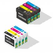 Ink jet cartridges isometric icon